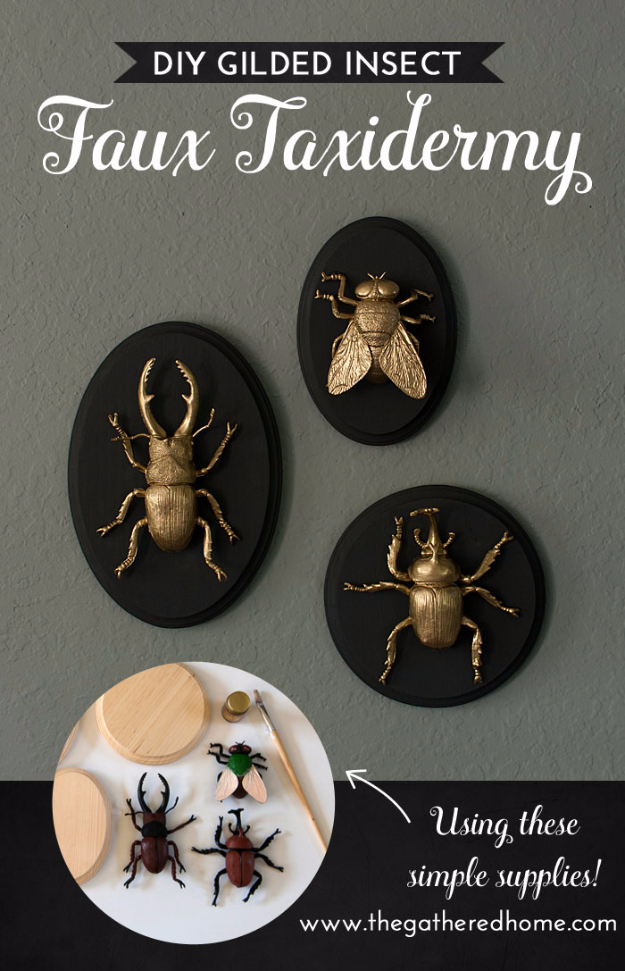 Quick Last Minute DIY Gifts You Can Make - DIY Gilded Insect Faux Taxidermy - Easy and Quick Last Minute DIY Gift Ideas for Mom, Dad, Him or Her, Freinds, Teens, Kids, Girls and Boys. Fast Crafts and Fun Ideas in A Jar, Birthday Presents - Step by Step Tutorials #diygifts #xmas #christmasgifts #quickgifts