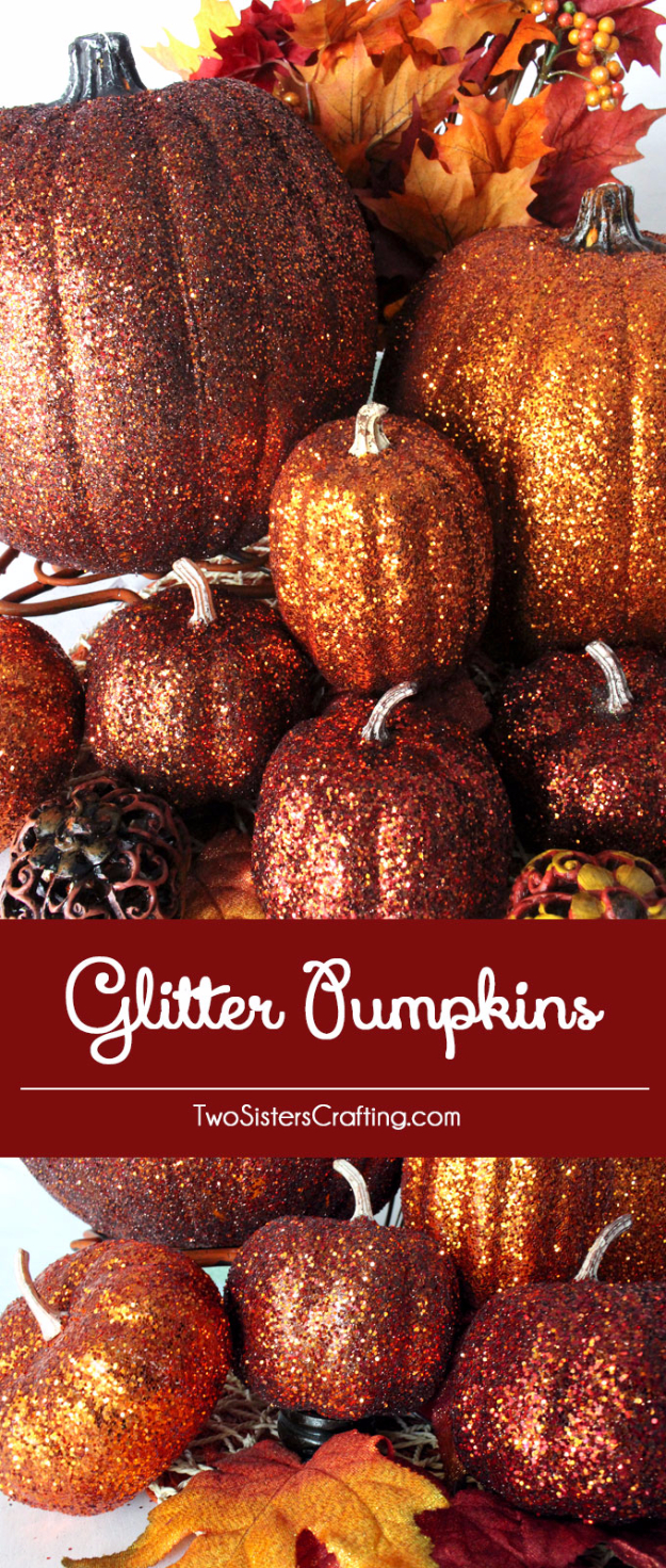 38 Best DIY Projects for Fall - DIY Glitter Pumpkins - Quick And Easy Projects For Fall, Fun DIY Projects To Try This Fall, Cute Fall Craft Ideas, Fall Decors, Easy DIY Crafts For Fall http://diyjoy.com/diy-projects-for-fall