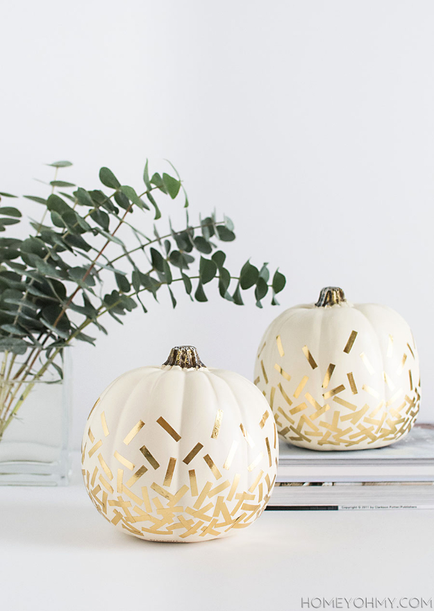 34 Pumpkin Decorations For Fall -DIY Gold Confetti Pumpkins - Easy DIY Pumpkin Decor Ideas for Home, Yard, Outdoors - Cool Pumpkin Decorating Ideas for Adults and Kids Party, Creative Crafts With Paint, Glitter and No Carve Projects for Halloween