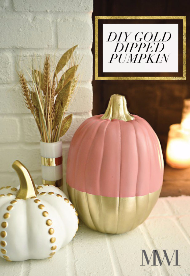 34 Pumpkin Decorations For Fall - DIY Gold Dipped Pumpkin - Easy DIY Pumpkin Decor Ideas for Home, Yard, Outdoors - Cool Pumpkin Decorating Ideas for Adults and Kids Party, Creative Crafts With Paint, Glitter and No Carve Projects for Halloween