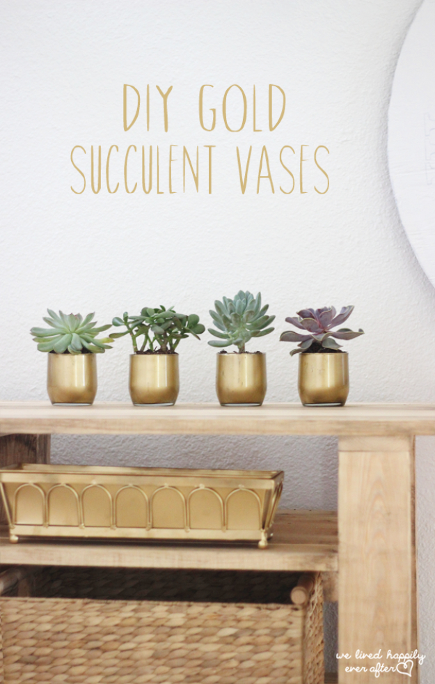 Dollar Store Crafts - DIY Gold Succulent Vases - Best Cheap DIY Dollar Store Craft Ideas for Kids, Teen, Adults, Gifts and For Home #dollarstore #crafts #cheapcrafts #diy