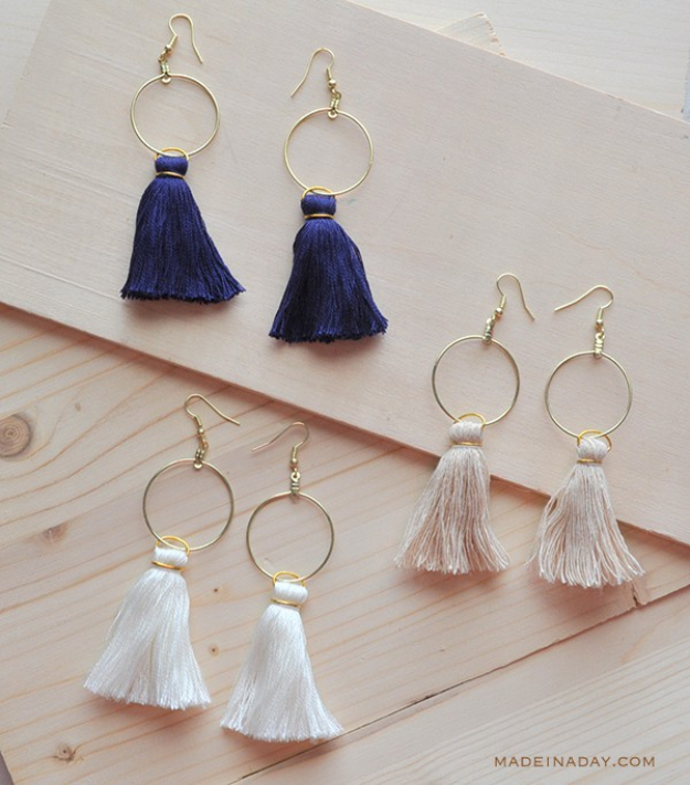 Easy DIY Projects - DIY Hoop Tassel Earrings - Easy DIY Crafts and Projects - Simple Craft Ideas for Beginners, Cool Crafts To Make and Sell, Simple Home Decor, Fast DIY Gifts, Cheap and Quick Project Tutorials #diy #crafts #easycrafts