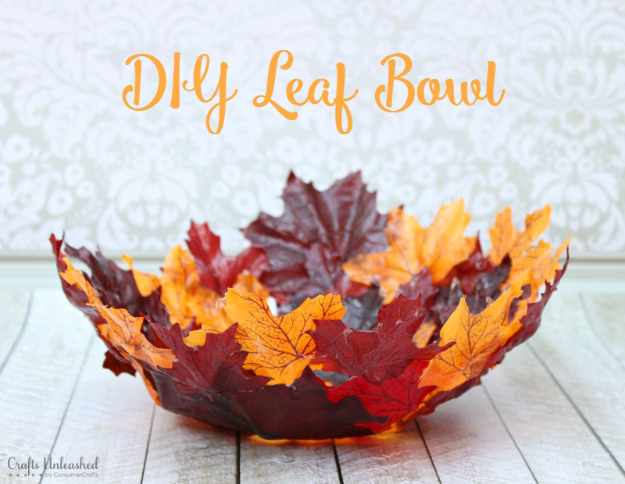 38 Best DIY Projects for Fall - DIY Leaf Bowl - Quick And Easy Projects For Fall, Fun DIY Projects To Try This Fall, Cute Fall Craft Ideas, Fall Decors, Easy DIY Crafts For Fall