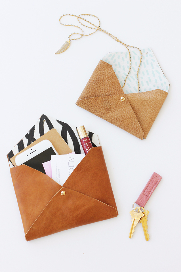 37 Quickest DIY Gifts You Can Make - DIY Leather Envelope Clutch - Easy and Quick Last Minute DIY Gift Ideas for Mom, Dad, Him or Her, Freinds, Teens, Kids, Girls and Boys. Fast Crafts and Fun Ideas in A Jar, Birthday Presents - Step by Step Tutorials http://diyjoy.com/quick-diy-gifts