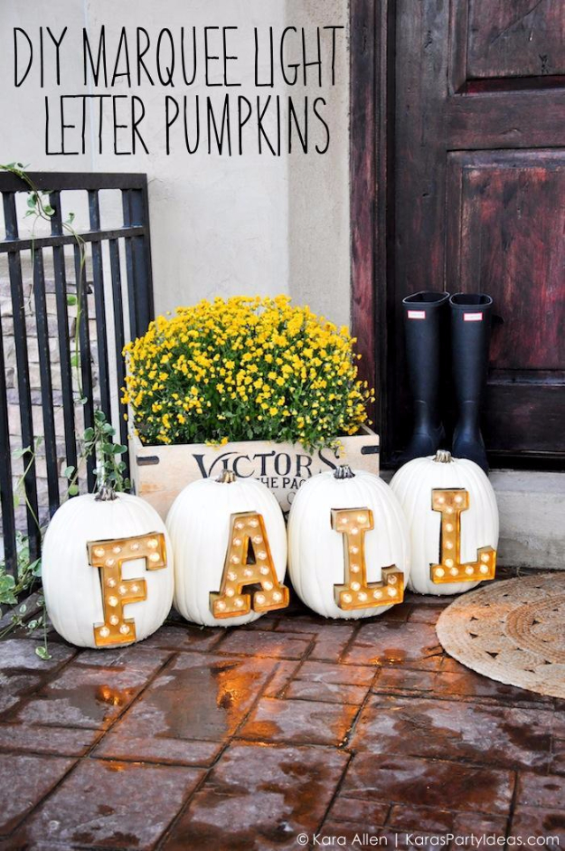 34 Pumpkin Decorations For Fall - DIY Marquee Light Letter Pumpkins - Easy DIY Pumpkin Decor Ideas for Home, Yard, Outdoors - Cool Pumpkin Decorating Ideas for Adults and Kids Party, Creative Crafts With Paint, Glitter and No Carve Projects for Halloween http://diyjoy.com/pumpkin-decorations-fall