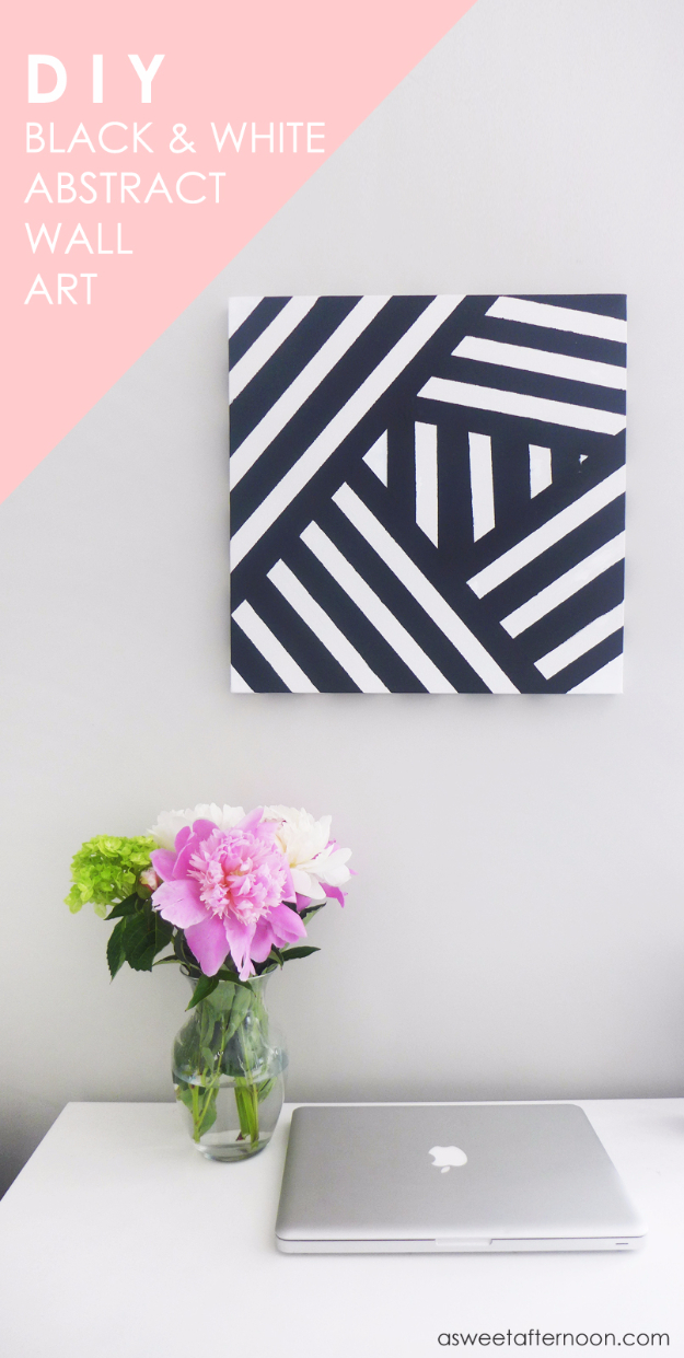 DIY Wall Art Ideas for the Bedroom - DIY Modern Black And White Abstract Art - Rustic Decorating Projects For Bedroom, Brilliant Wall Art Projects, Creative Wall Art, Do It Yourself Crafts, Easy Wall Art, Bedroom Decor on a Budget, Bedroom - Paintings, Canvas Art Ideas, Wall Hangings