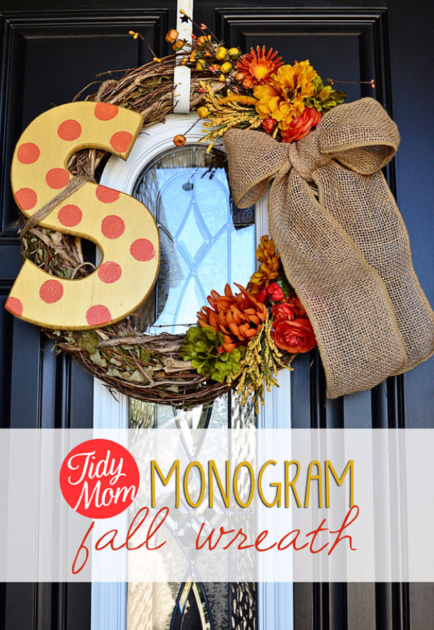 35 Fall Wreaths for Your Door - DIY Monogram Fall Wreath - Fall Wreaths For Front Door, Fall Wreaths Ideas To Try, Easy DIY Fall Wreaths, Brilliant Fall Wreath DIY, Porch Decor, Cool Ideas For Fall, Fall Projects