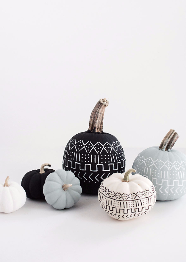 38 Best DIY Projects for Fall - DIY Mud Cloth Pumpkins - Quick And Easy Projects For Fall, Fun DIY Projects To Try This Fall, Cute Fall Craft Ideas, Fall Decors, Easy DIY Crafts For Fall