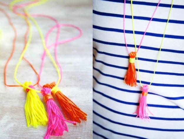 Clever DIYs Made With Yarn - DIY Neon Yarn Tassel Necklace - Yarn Crafts To Try, Easy Yarn DIYs, Fun Crafts To Do With Yarn, Wall Art, Awesome Yarn Ideas, Yarn DIY Projects, Brillian Yarn Craft Tutorials http://diyjoy.com/diy-curtains-drapes