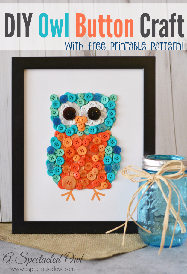 Easy DIY Projects - DIY Owl Button Craft - Easy DIY Crafts and Projects - Simple Craft Ideas for Beginners, Cool Crafts To Make and Sell, Simple Home Decor, Fast DIY Gifts, Cheap and Quick Project Tutorials #diy #crafts #easycrafts