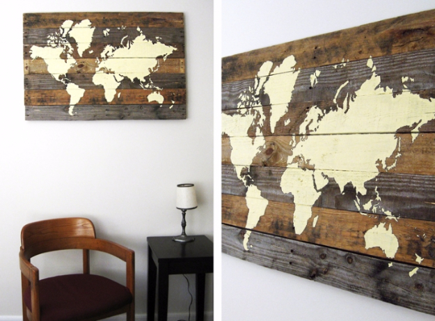 DIY Wall Art Ideas for the Bedroom - DIY Pallet Board World Map - Rustic Decorating Projects For Bedroom, Brilliant Wall Art Projects, Creative Wall Art, Do It Yourself Crafts, Easy Wall Art, Bedroom Decor on a Budget, Bedroom - Paintings, Canvas Art Ideas, Wall Hangings