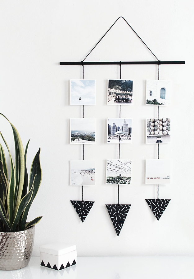 Easy DIY Projects - DIY Photo Wall Hanging - Easy DIY Crafts and Projects - Simple Craft Ideas for Beginners, Cool Crafts To Make and Sell, Simple Home Decor, Fast DIY Gifts, Cheap and Quick Project Tutorials #diy #crafts #easycrafts