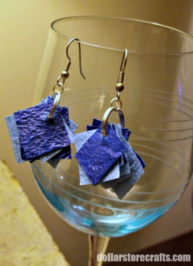 Dollar Store Crafts - DIY Plastic Tablecloth Confetti Earrings - Best Cheap DIY Dollar Store Craft Ideas for Kids, Teen, Adults, Gifts and For Home #dollarstore #crafts #cheapcrafts #diy