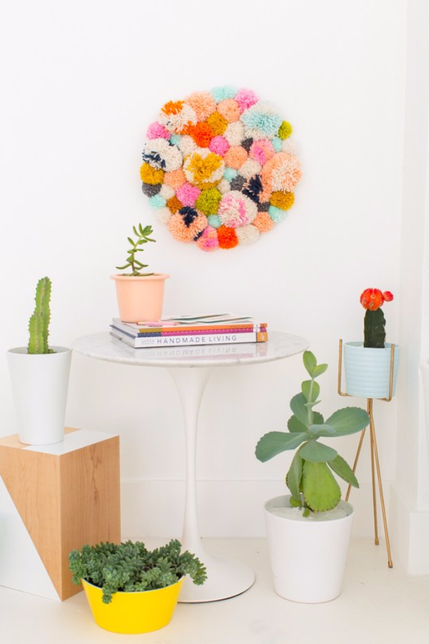 Easy DIY Projects - DIY Pom Pom Wall Hang - Easy DIY Crafts and Projects - Simple Craft Ideas for Beginners, Cool Crafts To Make and Sell, Simple Home Decor, Fast DIY Gifts, Cheap and Quick Project Tutorials #diy #crafts #easycrafts