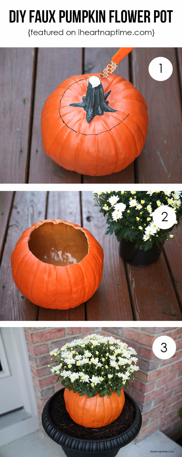 38 Best DIY Projects for Fall - DIY Pumpkin Flower Pot - Quick And Easy Projects For Fall, Fun DIY Projects To Try This Fall, Cute Fall Craft Ideas, Fall Decors, Easy DIY Crafts For Fall