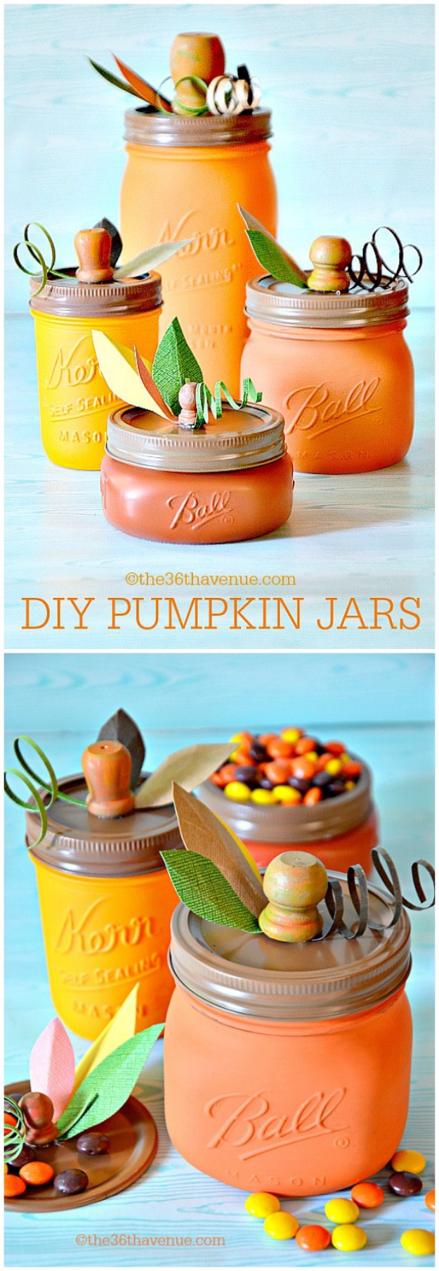 38 Best DIY Projects for Fall - DIY Pumpkin Mason Jars - Quick And Easy Projects For Fall, Fun DIY Projects To Try This Fall, Cute Fall Craft Ideas, Fall Decors, Easy DIY Crafts For Fall