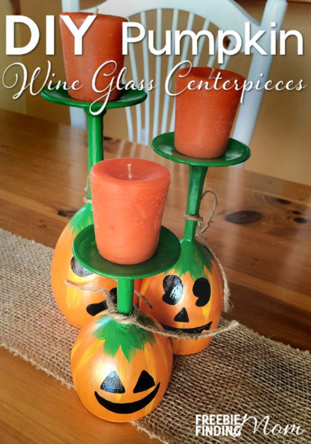 38 Best DIY Projects for Fall - DIY Pumpkin Wine Glass Centerpieces - Quick And Easy Projects For Fall, Fun DIY Projects To Try This Fall, Cute Fall Craft Ideas, Fall Decors, Easy DIY Crafts For Fall