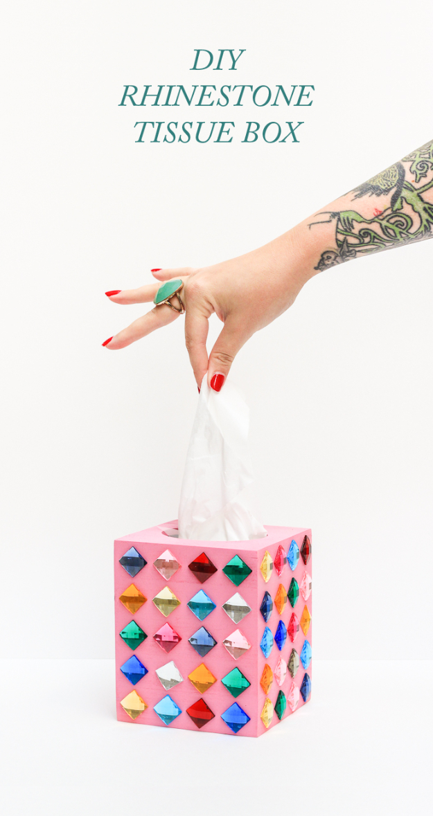 Dollar Store Crafts - DIY Rhinestone Tissue Box - Best Cheap DIY Dollar Store Craft Ideas for Kids, Teen, Adults, Gifts and For Home #dollarstore #crafts #cheapcrafts #diy
