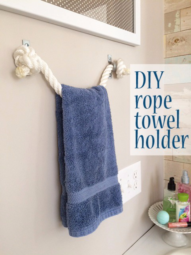 Dollar Store Crafts - DIY Rope Towel Holder - Best Cheap DIY Dollar Store Craft Ideas for Kids, Teen, Adults, Gifts and For Home #dollarstore #crafts #cheapcrafts #diy
