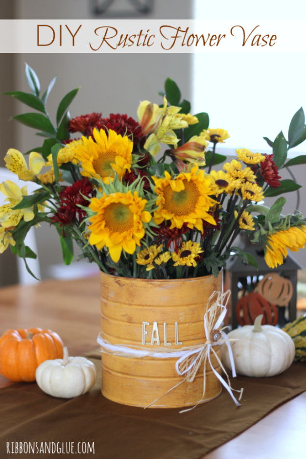 38 Best DIY Projects for Fall - DIY Rustic Flower Vase - Quick And Easy Projects For Fall, Fun DIY Projects To Try This Fall, Cute Fall Craft Ideas, Fall Decors, Easy DIY Crafts For Fall http://diyjoy.com/diy-projects-for-fall