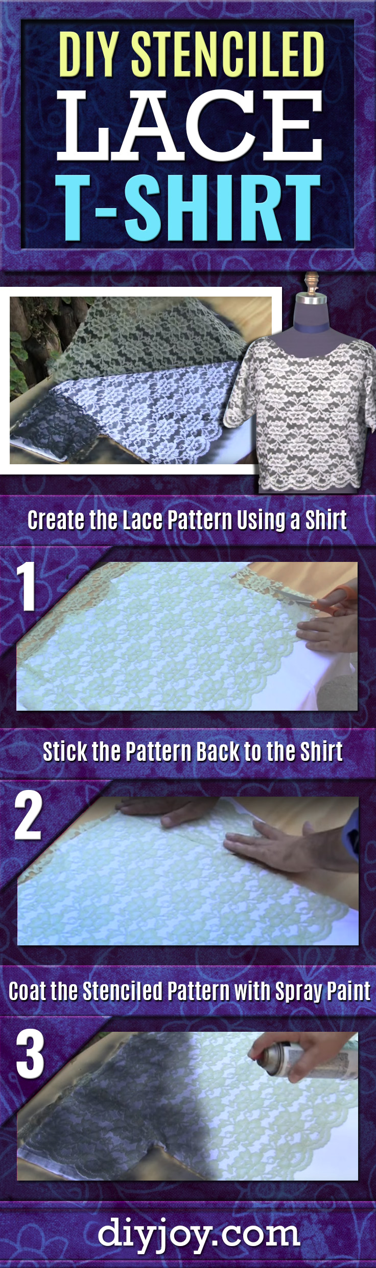 DIY Stenciled T-Shirt With Lace - Cool DIY Fashion Tutorials for Women, Teens and Girls - Cool Crafts and DIY Projects by DIY JOY