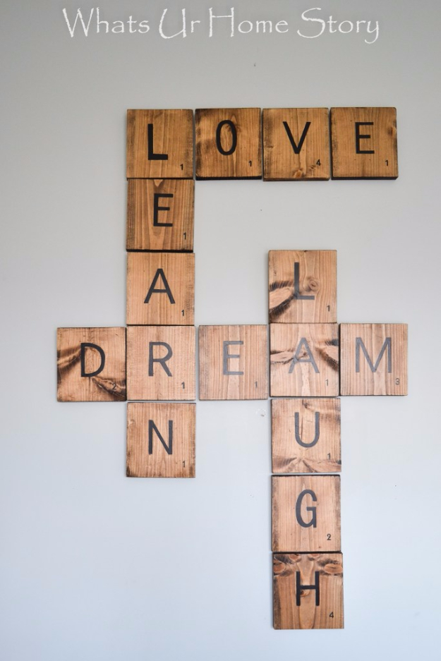 DIY Wall Art Ideas for the Bedroom - DIY Scrabble Tiles - Rustic Decorating Projects For Bedroom, Brilliant Wall Art Projects, Creative Wall Art, Do It Yourself Crafts, Easy Wall Art, Bedroom Decor on a Budget, Bedroom - Paintings, Canvas Art Ideas, Wall Hangings