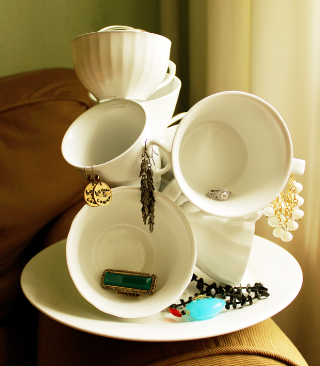 Dollar Store Crafts - DIY Teacup Sculpture - Best Cheap DIY Dollar Store Craft Ideas for Kids, Teen, Adults, Gifts and For Home #dollarstore #crafts #cheapcrafts #diy