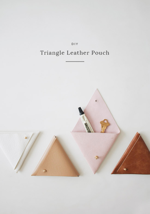Dollar Store Crafts - DIY Triangle Leather Pouch - Best Cheap DIY Dollar Store Craft Ideas for Kids, Teen, Adults, Gifts and For Home #dollarstore #crafts #cheapcrafts #diy