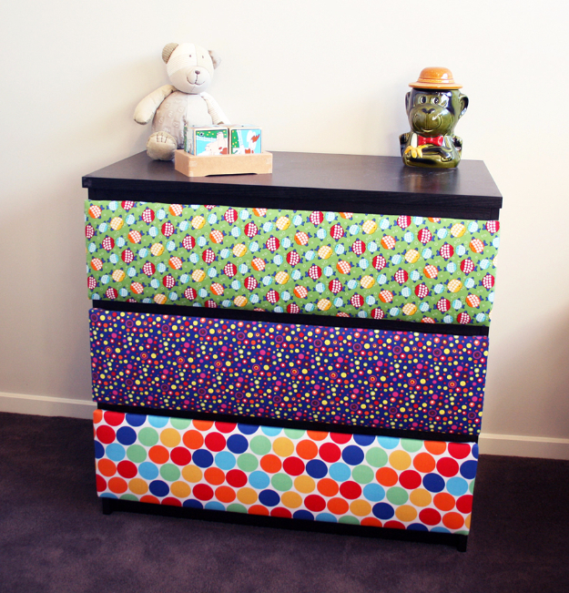 Dollar Store Crafts - DIY Upholstered Drawers - Best Cheap DIY Dollar Store Craft Ideas for Kids, Teen, Adults, Gifts and For Home #dollarstore #crafts #cheapcrafts #diy