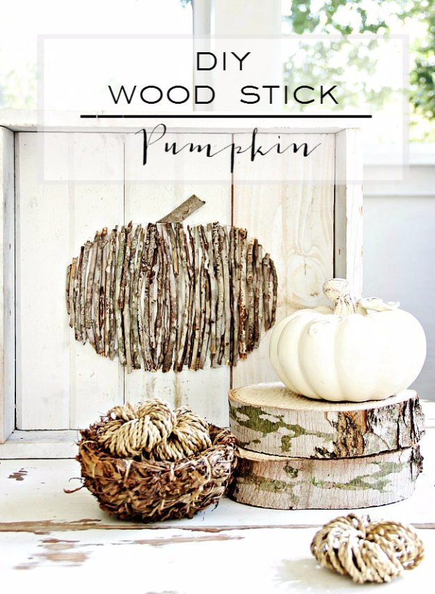 DIY Wood Stick Pumpkin - Easy Decorating Ideas Projects For Fall, Fun DIY Projects To Try This Fall, DIY Fall Crafts Ideas - Fall Decorating Projects - Centerpieces, Wall Decor, Pumpkin Art and Fall Wreaths