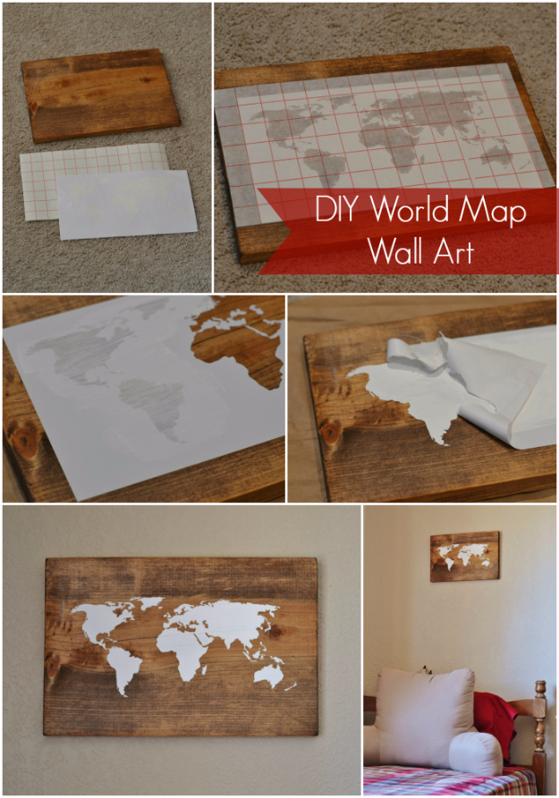 35 Wall Art Ideas for the Bedroom - DIY World Map Wall Art - Rustic Decorating Projects For Bedroom, Brilliant Wall Art Projects, Creative Wall Art, Do It Yourself Crafts, Easy Wall Art, Bedroom Decor on a Budget, Bedroom http://diyjoy.com/wall-art-ideas-bedroom