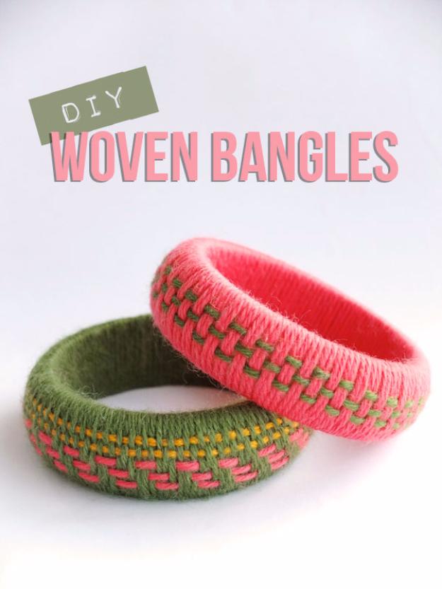 Clever DIYs Made With Yarn - DIY Woven Yarn Bangles - Yarn Crafts To Try, Easy Yarn DIYs, Fun Crafts To Do With Yarn, Wall Art, Awesome Yarn Ideas, Yarn DIY Projects, Brillian Yarn Craft Tutorials http://diyjoy.com/diy-yarn-crafts