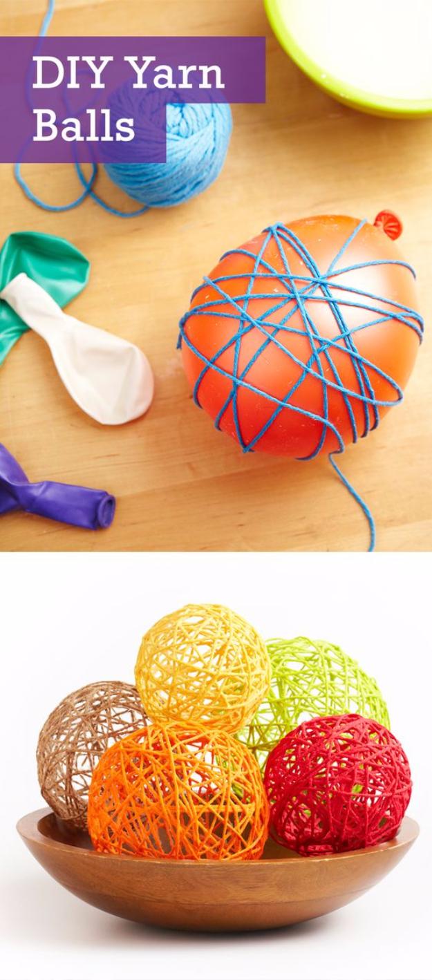 Clever DIYs Made With Yarn - DIY Yarn Balls - Yarn Crafts To Try, Easy Yarn DIYs, Fun Crafts To Do With Yarn, Wall Art, Awesome Yarn Ideas, Yarn DIY Projects, Brillian Yarn Craft Tutorials http://diyjoy.com/diy-curtains-drapes