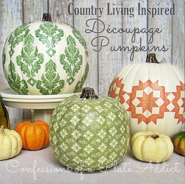 34 Pumpkin Decorations For Fall - Decoupage Pumpkins - Easy DIY Pumpkin Decor Ideas for Home, Yard, Outdoors - Cool Pumpkin Decorating Ideas for Adults and Kids Party, Creative Crafts With Paint, Glitter and No Carve Projects for Halloween