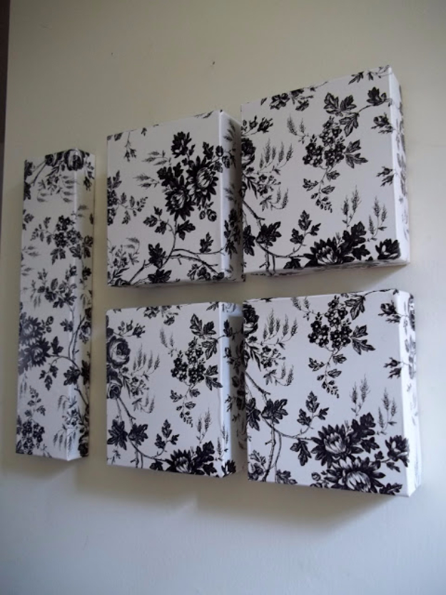 Dollar Store Crafts - Dollar Tree Contact Paper and Used Boxes Wall Art - Best Cheap DIY Dollar Store Craft Ideas for Kids, Teen, Adults, Gifts and For Home #dollarstore #crafts #cheapcrafts #diy