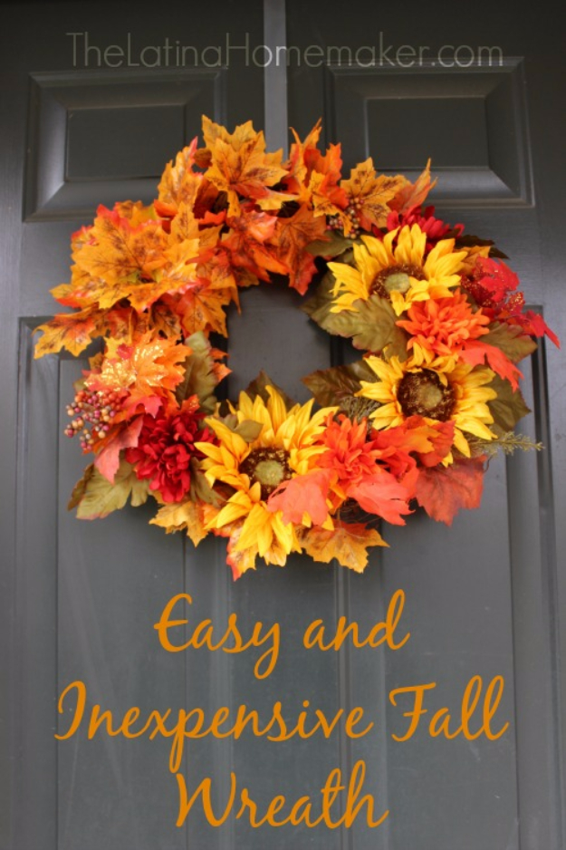 35 Fall Wreaths for Your Door - Easy And Inexpensive Fall Wreath - Fall Wreaths For Front Door, Fall Wreaths Ideas To Try, Easy DIY Fall Wreaths, Brilliant Fall Wreath DIY, Porch Decor, Cool Ideas For Fall, Fall Projects