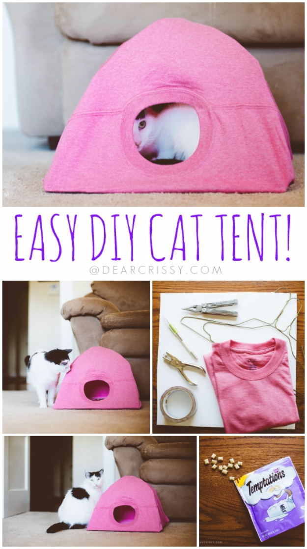 Easy DIY Projects - Easy DIY Cat Tent - Easy DIY Crafts and Projects - Simple Craft Ideas for Beginners, Cool Crafts To Make and Sell, Simple Home Decor, Fast DIY Gifts, Cheap and Quick Project Tutorials #diy #crafts #easycrafts
