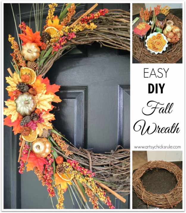35 Fall Wreaths for Your Door - Easy DIY Fall Wreath - Fall Wreaths For Front Door, Fall Wreaths Ideas To Try, Easy DIY Fall Wreaths, Brilliant Fall Wreath DIY, Porch Decor, Cool Ideas For Fall, Fall Projects