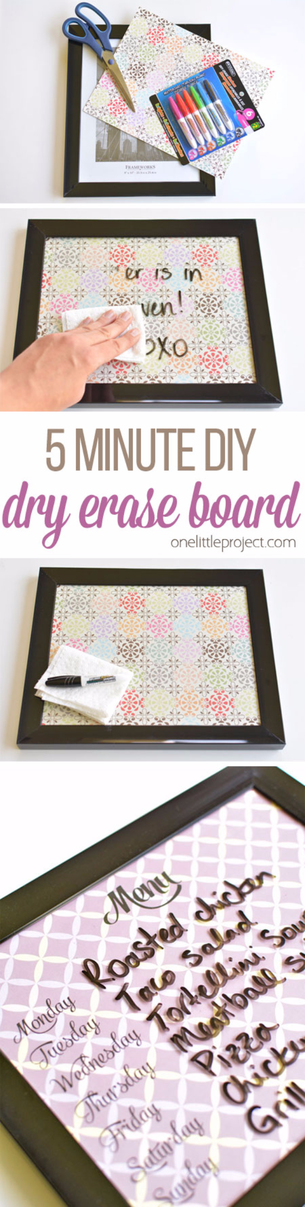Easy DIY Projects - Easy DIY Whiteboards - Easy DIY Crafts and Projects - Simple Craft Ideas for Beginners, Cool Crafts To Make and Sell, Simple Home Decor, Fast DIY Gifts, Cheap and Quick Project Tutorials #diy #crafts #easycrafts