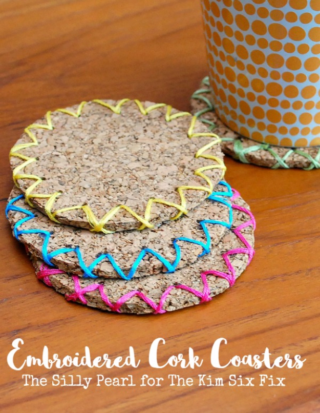 Quick Last Minute DIY Gifts You Can Make - Embroidered Cork Coasters - Easy and Quick Last Minute DIY Gift Ideas for Mom, Dad, Him or Her, Freinds, Teens, Kids, Girls and Boys. Fast Crafts and Fun Ideas in A Jar, Birthday Presents - Step by Step Tutorials #diygifts #xmas #christmasgifts #quickgifts