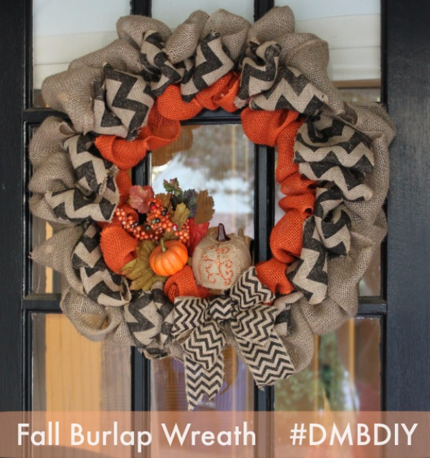 35 Fall Wreaths for Your Door - Fall Burlap Wreath - Fall Wreaths For Front Door, Fall Wreaths Ideas To Try, Easy DIY Fall Wreaths, Brilliant Fall Wreath DIY, Porch Decor, Cool Ideas For Fall, Fall Projects