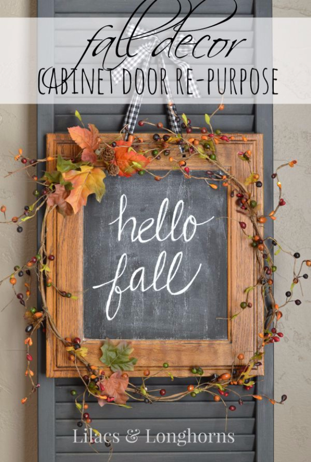 38 Best DIY Projects for Fall - Fall Decor Cabinet Door Repurpose - Quick And Easy Projects For Fall, Fun DIY Projects To Try This Fall, Cute Fall Craft Ideas, Fall Decors, Easy DIY Crafts For Fall