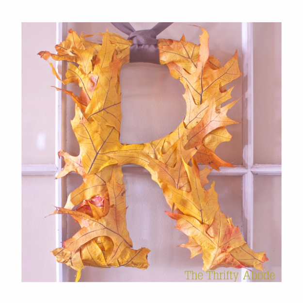 35 Fall Wreaths for Your Door - Fall Leaf Initial - Fall Wreaths For Front Door, Fall Wreaths Ideas To Try, Easy DIY Fall Wreaths, Brilliant Fall Wreath DIY, Porch Decor, Cool Ideas For Fall, Fall Projects