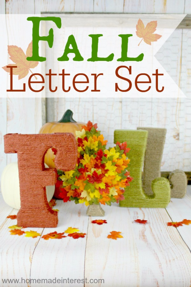 38 Best DIY Projects for Fall - Fall Letter Set - Quick And Easy Projects For Fall, Fun DIY Projects To Try This Fall, Cute Fall Craft Ideas, Fall Decors, Easy DIY Crafts For Fall http://diyjoy.com/diy-projects-for-fall
