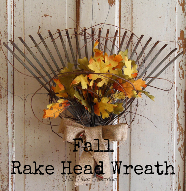 35 Fall Wreaths for Your Door - Fall Rake Head Wreath - Fall Wreaths For Front Door, Fall Wreaths Ideas To Try, Easy DIY Fall Wreaths, Brilliant Fall Wreath DIY, Porch Decor, Cool Ideas For Fall, Fall Projects