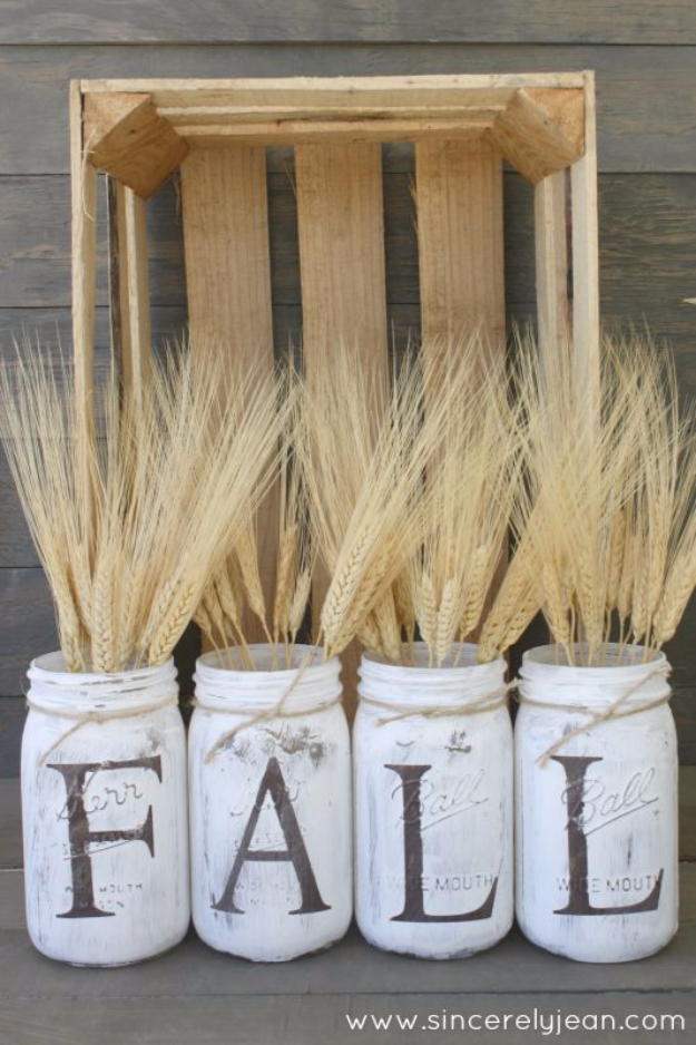 Easy DIY Projects - Fall Rustic Mason Jars - Easy DIY Crafts and Projects - Simple Craft Ideas for Beginners, Cool Crafts To Make and Sell, Simple Home Decor, Fast DIY Gifts, Cheap and Quick Project Tutorials #diy #crafts #easycrafts