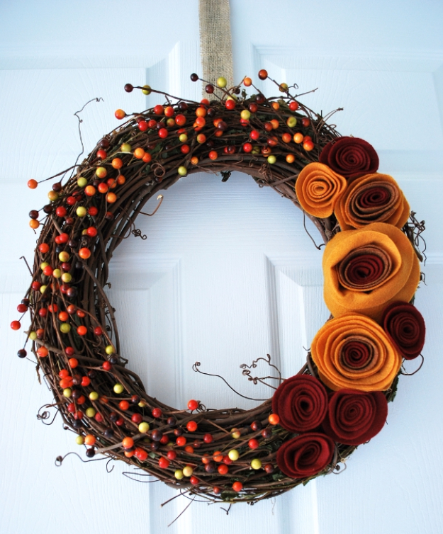 35 Fall Wreaths for Your Door - Fall Wreath With Felt Rosettes - Fall Wreaths For Front Door, Fall Wreaths Ideas To Try, Easy DIY Fall Wreaths, Brilliant Fall Wreath DIY, Porch Decor, Cool Ideas For Fall, Fall Projects