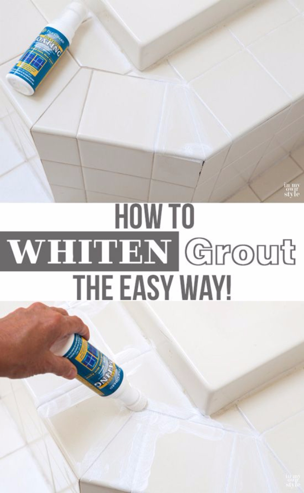 DIY Home Improvement Ideas- Fast Easy Way To Whiten Tile Grout - Home Repair Ideas, Home Repairs On A Budget, Home Repair Tips, Living Room, Bedroom, Kitchen Repair, Home Improvement, Quick And Easy Home Tips #diy #homeimprovement #diyhome #homerepair