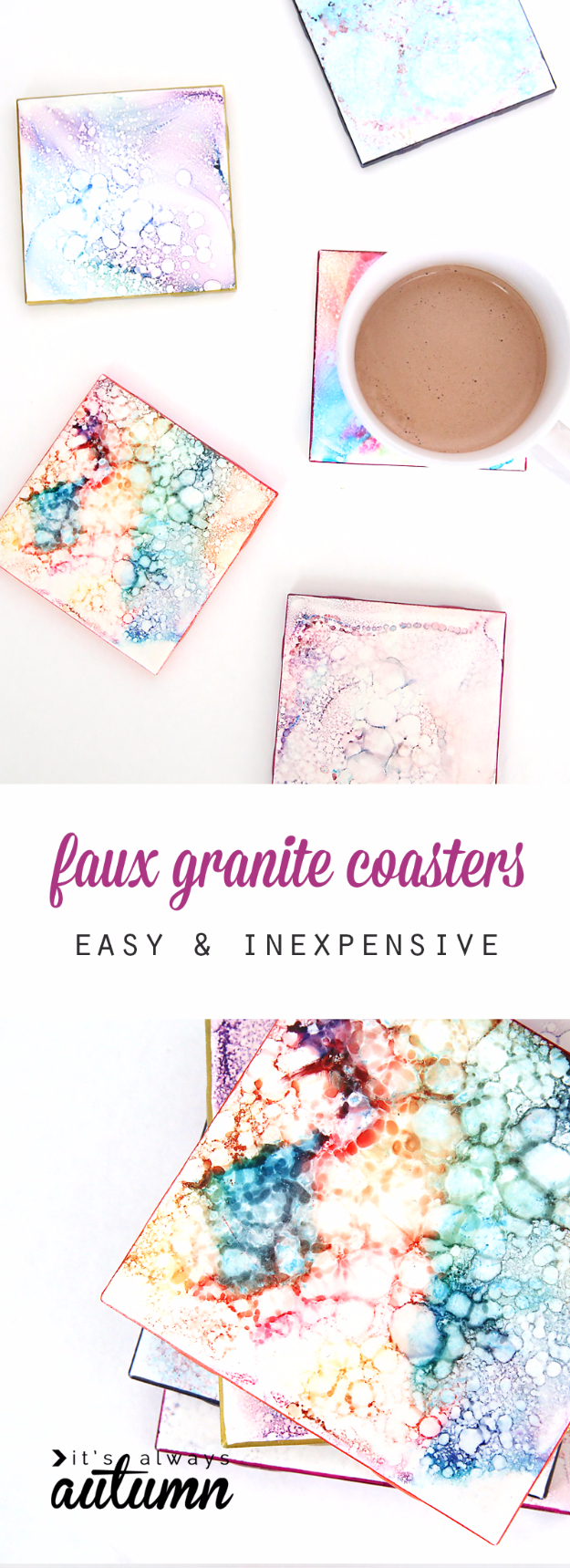 Easy DIY Projects - Faux Granite Coasters - Easy DIY Crafts and Projects - Simple Craft Ideas for Beginners, Cool Crafts To Make and Sell, Simple Home Decor, Fast DIY Gifts, Cheap and Quick Project Tutorials #diy #crafts #easycrafts