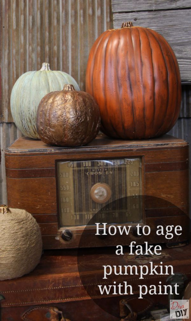 34 Pumpkin Decorations For Fall - Faux Pumpkin Aged With Paint - Easy DIY Pumpkin Decor Ideas for Home, Yard, Outdoors - Cool Pumpkin Decorating Ideas for Adults and Kids Party, Creative Crafts With Paint, Glitter and No Carve Projects for Halloween